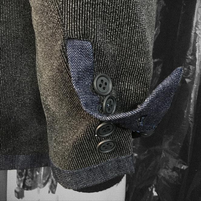 SCISSORS & BASS デニムトリミング ストライプ ベロア 3ボタン ジャケット BLK