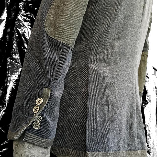 SCISSORS & BASS デニムトリミング ストライプ ベロア 3ボタン ジャケット